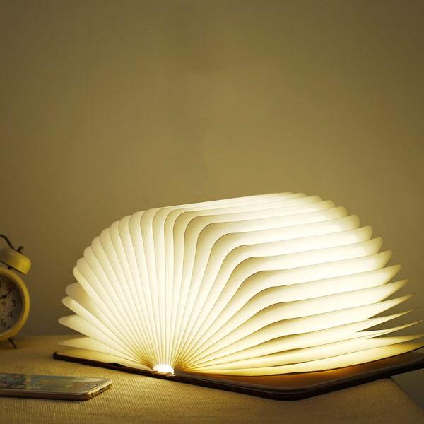 书灯创意木纹礼品翻页折叠LED书本灯定制 USB充电小夜灯